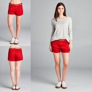 Pants - BELTED WOVEN SHORTS - Red